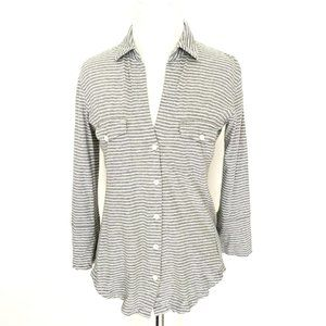 James Perse Grey & White Striped 3/4 Sleeve Shirt